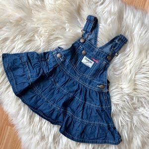 Oshkosh girls jean denim dress overalls